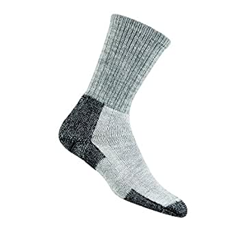 Thorlo Unisex Wool/Thorlon Thick Cushion Hiking Sock, Grey/Black, Medium (Shoe Size Men's 5.5-8.5/ Women's 6.5-10)