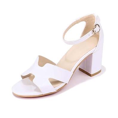 Sandales Femme Open Toe Chaussures à Talons Hauts Blanc Taille 35-40 (Couleur : Blanc, Taille : 35)