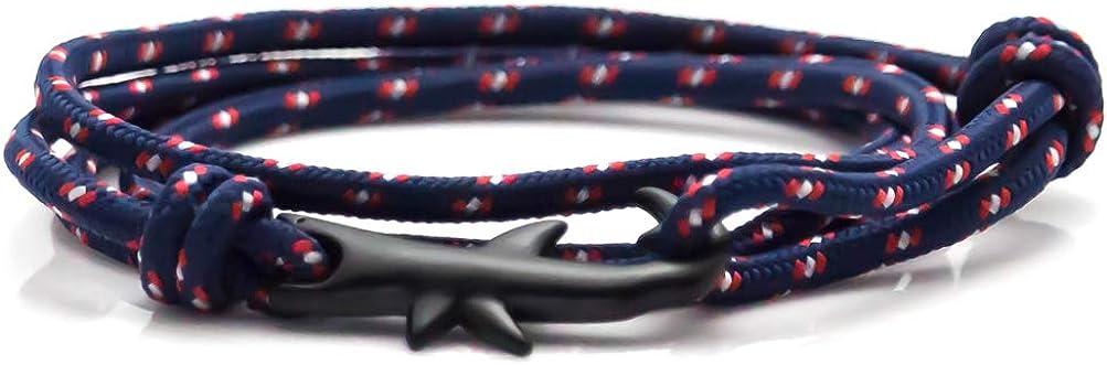 Heavstjer Fashion Plated Black Alloy Shark Tail Hook Colorful Rope Link Bracelet