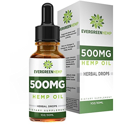 Premium Hemp Oil - All-Natural Ingredients - 500mg Per Bottle - Supports Cardiovascular Health - Encourages Relaxation - 30 Day Supply per Bottle - Evergreen Hemp