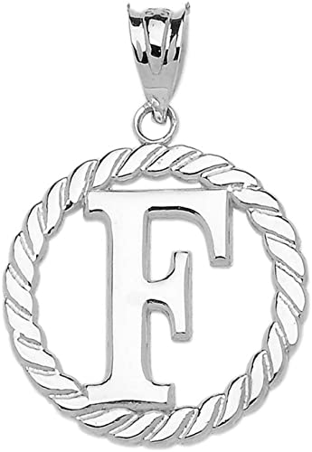 925 Sterling Silver Letter Initial F Charm Pendant