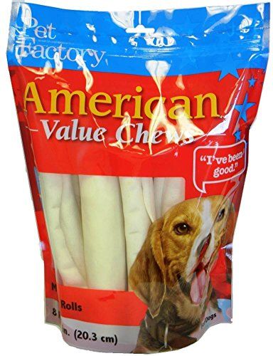 - Pet Factory American Beef Hide Rolls Chews For Dogs (8 Pack), Medium/8-9