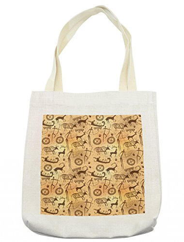 Lunarable Primitive Tote Bag, Dated Irregular Caveman Paint Forms with Bird and Cow Shape Early Modern Humans, Cloth Linen Reusable Bag for Shopping Groceries Books Beach Travel & More, Cream ()