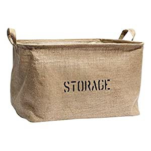 "Jute STORAGE Bin 14""Long (plus other sizes 17""L and 22""L) for Toy Storage - Storage Basket for organizing Baby Toys, Kids Toys, Baby Clothing, Children Books, Gift Baskets."