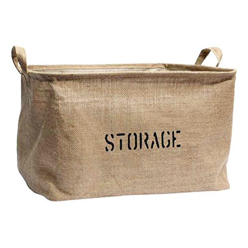 Jute Stackable (Medium or Large Jute Storage Bin for Toy Storage - Storage Basket for organizing Baby Toys, Kids Toys, Baby Clothing, Children Books, Gift)