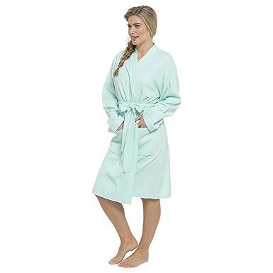 c09f5f8a19 Ladies 100% Cotton Waffle Bath Robe Dressing Gown Bathrobe Housecoat Mint  Small