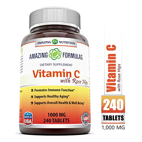 (Amazing FormulasVitamin C with Rose Hips Dietary Supplement - Non-GMO 1000 Mg240Tablets )