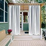 Greyish White Outdoor Curtain   NICETOWN Triple Weave Microfiber Tab Top  Room Darkening Waterproof Curtain For Indoors And Outdoor (Single Piece, ...