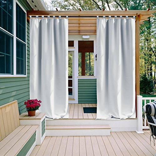 Greyish White Outdoor Curtain for Porch - NICETOWN Home Fashion Tab Top Thermal Insulated Mildew Resistant Room Darkening Outdoor Curtain for Cabana (One Panel,52