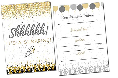 40th Birthday Party Invitations (Surprise Party Invitations | It's a Surprise Birthday | Kids and Adults | Fill in Style | Black and Gold | Confetti Streamers Party Invitations | 20 Count with)