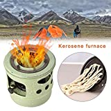Camping Stove Portable Kerosene Stove Picnic Burner Furnace 10 Wicks 3L Windproof Mini Cooking Stove with Silencer, for Outdoor Hiking Backpacking Emergency Kit Survival Gear (Green)