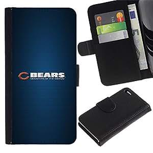// PHONE CASE GIFT // Moda Estuche Funda de Cuero Billetera Tarjeta de crédito dinero bolsa Cubierta de proteccion Caso Apple Iphone 4 / 4S / BEAR SPORT TEAM /