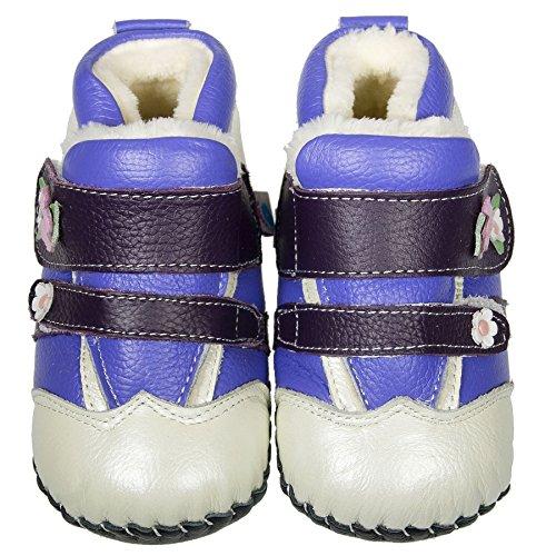 FREYCOO–niñas niños Real de piel suela blanda bebé botas botines–púrpura & Mullido Inners–con calzador