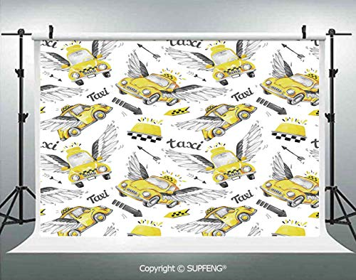 Photo Backdrop Watercolor Hand Drawn Flying Taxis with Magical Wings Direction Arrows Travel Cab Decorative 3D Backdrops for Interior Decoration Photo Studio Props -