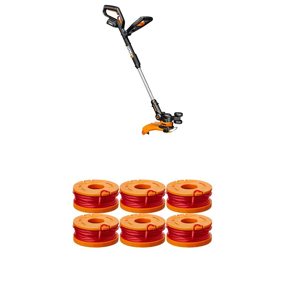 WORX WG160 20V GT 2.0 String Trimmer/Edger/Mini-Mower with Tilting Head and Single Line Feed and 6-pack Replacement Spool Line Included