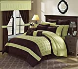 Perfect Home 25 Piece Gerard Complete Embroidery color block bedding, sheets, window panel collection King Bed In a Bag Comforter Set Green, Sheets Included