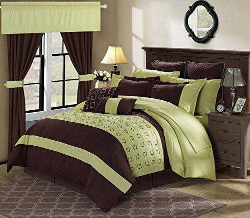 Perfect Home 24 Piece Gerard Complete Embroidery color block bedding, sheets, window panel collection Queen Bed In a Bag Comforter Set Green, Sheets Included 24 Piece Room Ensemble