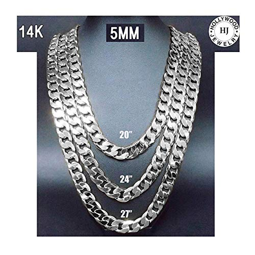 (Hollywood Jewelry Gold Chain Necklace 5mm 14K White Gold Diamond Cut Smooth Cuban Link with a Warranty USA Made! (22))
