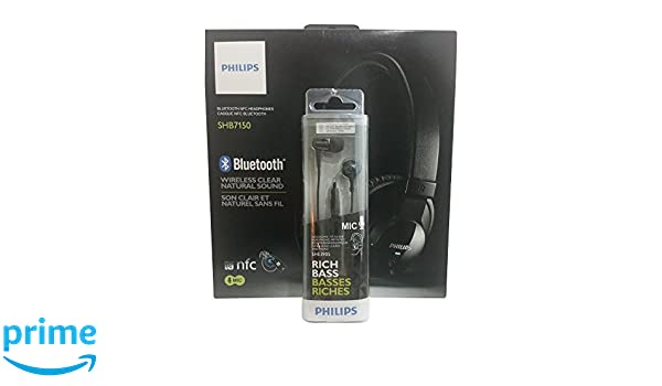 Amazon.com: Philips SHB7150FB Over Ear Wireless Bluetooth Headphones With Mic AND Philips In Ear Rich Bass Headphones with Mic (Bundle of 2): Home Audio & ...