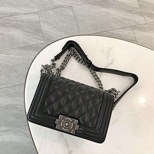 chaînes chaînes marée à Le ZHANGJIA Sac Diamond Petit Mode Sac l'épaule Flip black cm Sac Vent la la 6EIqqXpx