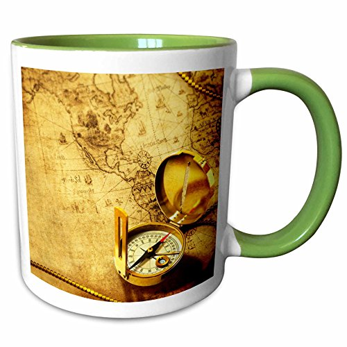 3dRose Brian Allen Childrens illustrations - Compass on a travellers map - 11oz Two-Tone Green Mug - Map Outlets Allen