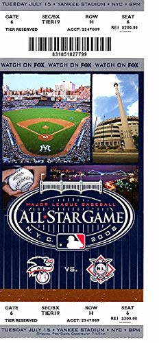 2008 MLB All Star Game Full Unused TICKET Yankee Stadium Jeter Nice 126274