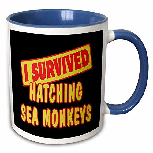 3dRose Dooni Designs Survive Sayings - I Survived Hatching Sea Monkeys Survial Pride And Humor Design - 15oz Two-Tone Blue Mug (mug_117997_11)