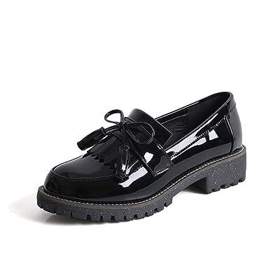 Chiximaxu Women's Slip on Loafer Flats Tassel Casual Work School Low Heel Shoes for Girl | Loafers & Slip-Ons