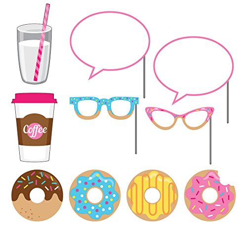 Creative Converting (324239) 10-Piece Photo Props For Party, Donut Time Pink Coffee Photo
