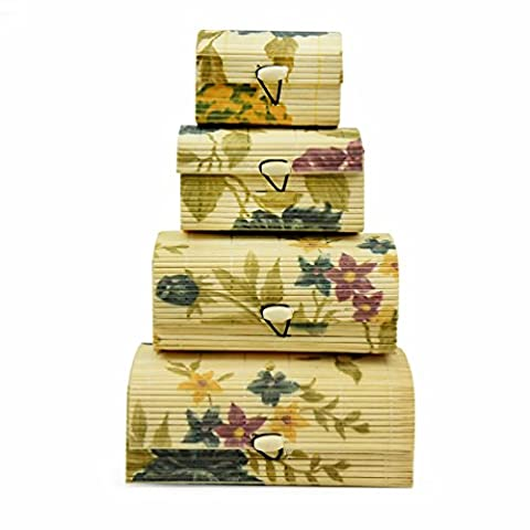 Floral Bamboo Wooden Nesting Storage Boxes – Set of 4 Decorative Asian Style Organizers – Small Sizes for Desktop Clutter, Business Cards, Other Tiny Items & Trinkets