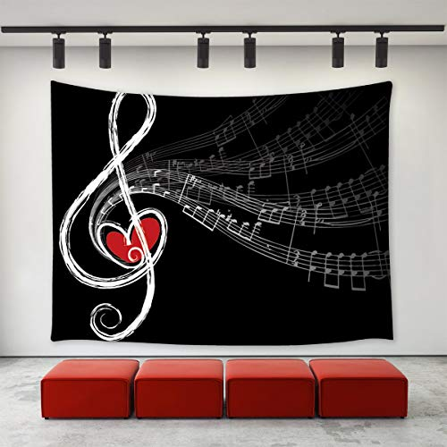 LONGBF Music Notes Tapestry Wall Hanging Abstract Music Note with Love Themed Pattern Music Lovers Wall Tapestry Home Decoration Wall Decor Art Tapestries for Bedroom Living Room College Dorm 60
