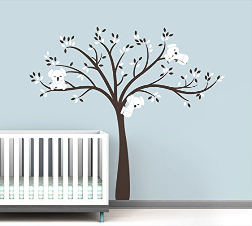 Modern Koala Cuteness Tree Wall Decal for Baby Nursery Decor - Pure White Color Collection by LittleLion Studio