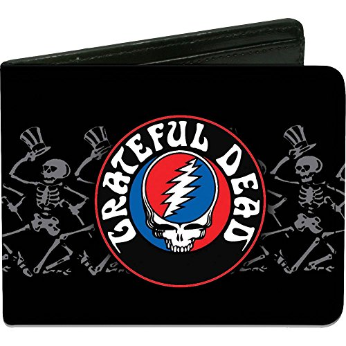 Buckle-Down Men's Wallet Grateful Dead Steal Your Face Logo/dancing Skeletons Accessory, -Multi, One Size