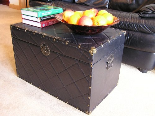 Black Faux Leather Chest Wooden Steamer Trunk - Large Trunk