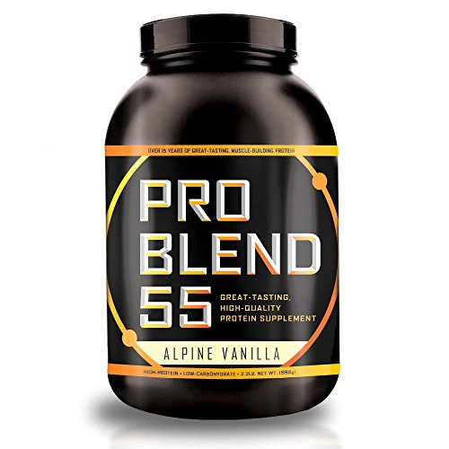Pro Blend 55 Protein Powder - Low Carb Gainer & Meal Replacement Powder - Whey, Casein, & Egg Albumin Protein - Alpine Vanilla - 2.2 Pound ()