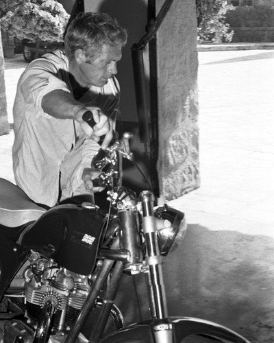 Steve McQueen cool image by his motorcycle motorbike 1960's 8x10 Promotional Photogra