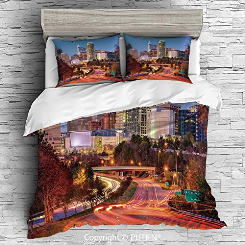 TWIN Size Cute 3 Piece Duvet Cover Sets Bedding Set Collection [ United States,Raleigh North Carolina USA Express Way Business District Building Skyscrapers Decorative,Multicolor ] Comforter Cover Set