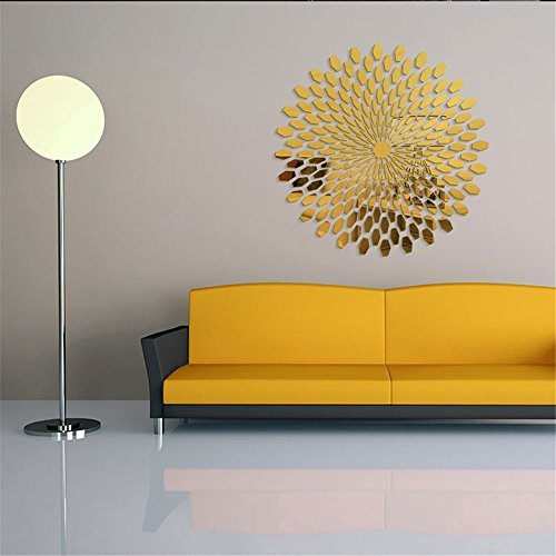 Stickers Acrylic (Ganesa Deepak DIY Mirror Wall Sticker, Removable Round Acrylic Mirror Decor of Self Adhesive Circle for Art Window Wall Decal Kitchen Home Decoration, 225Pcs/set(Gold))
