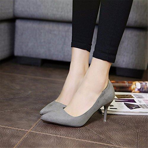 Chaussures Satin gris en chaussures travail Talons automne et printemps single femme Chaussures hauts hxvu56546 de nbsp;pendant la IqaOPO