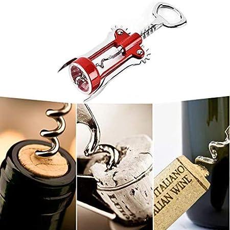 iPobie Abrebotellas de Vino, Sacacorchos Alado multifunción para Botellas de Vino, Color Rojo