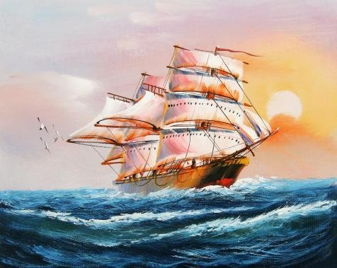 Oil Painting 'a Sailing Ship On The Blue Ocean', 8 x 10 inch / 20 x 26 cm , on High Definition HD canvas prints is for Gifts And Bar, - Sunglasses Bauhaus Smith