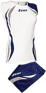 Zeus - Equipement volley maillot + short Klima - Couleur : Blanc Bleu Fonce Argent - Taille : S