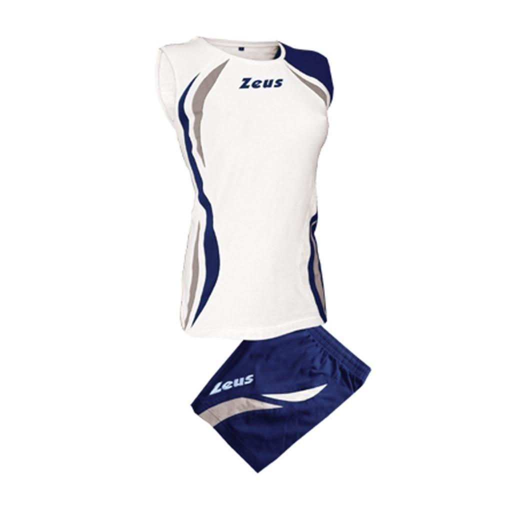 Zeus - Equipement volley maillot + short Klima - Couleur : Blanc Bleu Fonce Argent - Taille : XXS