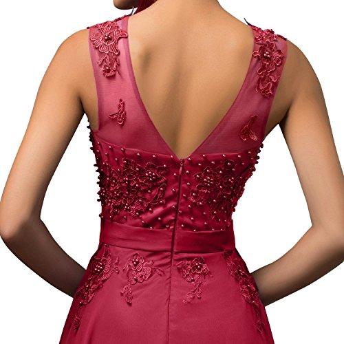 Les Femmes Talinadress Longues Robes De Bal Soirée De Cou Pure Robes De Demoiselle D'honneur E004lf Rouge