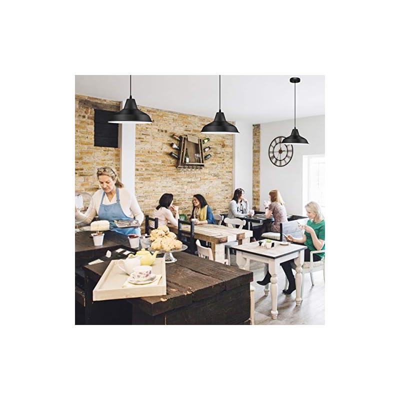 LOEHINLE Pendant Lighting, Farmhouse Metal Industrial Vintage Hanging Ceiling, Black, for Kitchen Home Light, 12.2…