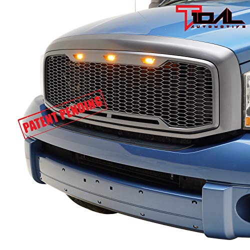 Grille Shell Kit - Tidal Replacement Upper ABS Grille LED Grill With Amber LED Lights - Charcoal Gray for 06-08 Dodge Ram 1500/06-09 Dodge Ram 2500/3500