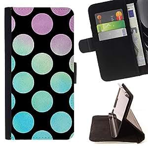 Momo Phone Case / Flip Funda de Cuero Case Cover - Dot trullo Púrpura Azul Negro - Samsung Galaxy Note 5 5th N9200