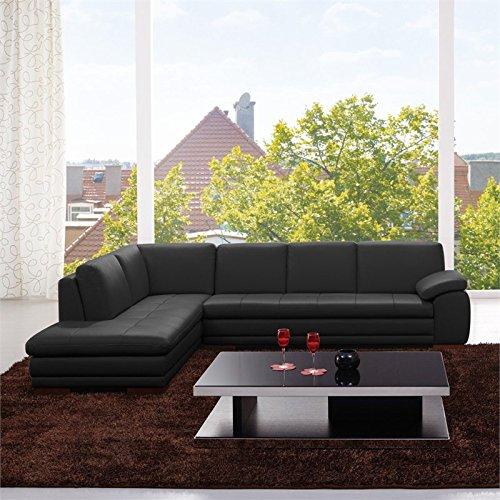 JM Furniture 625 Italian Leather Left Sectional in Black