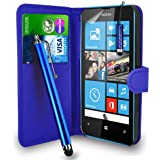 Nokia Lumia 520 - Premium Leather Wallet Flip Case Cover Pouch + Long Touch Stylus Pen + Mini Touch Stylus Pen + Screen Protector & Polishing Cloth (Wallet Blue)