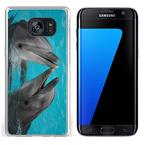 MSD Samsung Galaxy S7 Edge Clear case Soft TPU Rubber Silicone Bumper Snap Cases IMAGE ID: 624765 funny bottle nosed dolphins dancing in the water